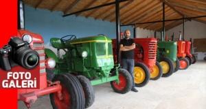 Nostaljik traktörlerden oluşan koleksiyon ilgi çekiyor