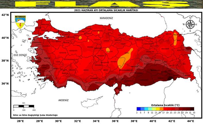 2021 Haziran sıcaklıklarının 1981-2010 mukayesesi