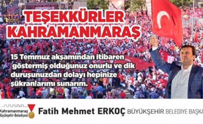 ERKOÇ'TAN TEŞEKKÜR!