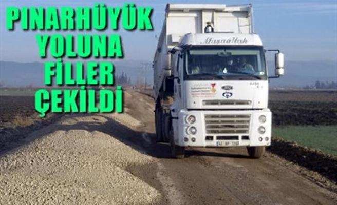 PINARHÜYÜK YOLUNA FİLLER ÇEKİLDİ