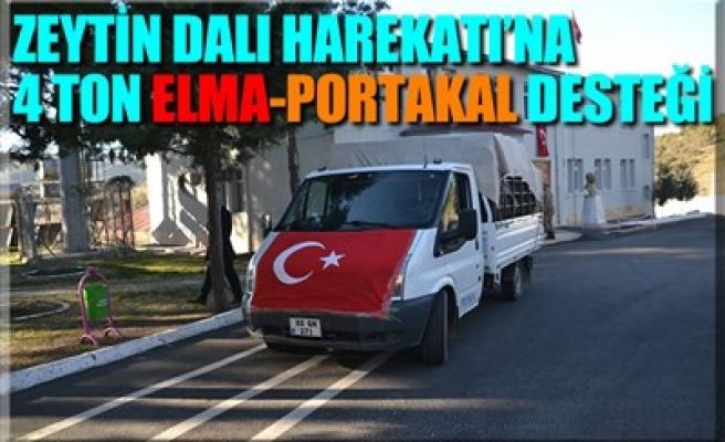 ZEYTİN DALI HAREKATI'NA 4 TON ELMA-PORTAKAL DESTEĞİ