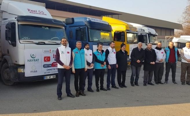 """Büyükşehir öncülüğünde """"İdlib için 7 tır yardım"""""""