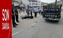 Pikapla çarpışan motosiklet sürücüsü yaralandı