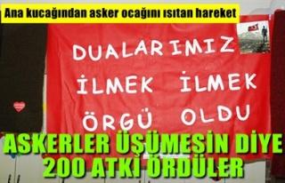 ASKERLER ÜŞÜMESİN DİYE 200 ATKI ÖRDÜLER