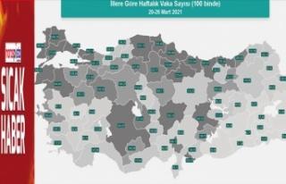Kahramanmaraş'ta her 100 bin kişide Kovid-19 sayısı...