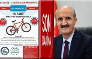 Dulkadiroğlu'ndan aşıya bisikletli destek