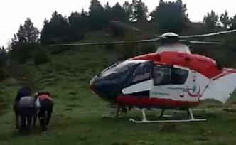 Mantardan zehirlenince ambulans helikopter imdada yetişti