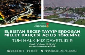 Recep Tayyip Erdoğan Millet Bahçesi açılıyor