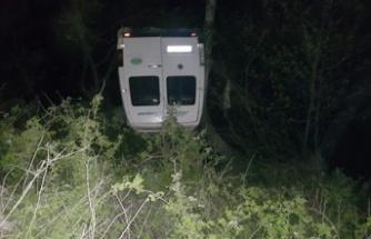 Alkollü sürücünün minibüsü dereye uçtu