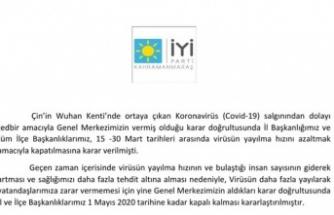 Kahramanmaraş'ta İYİ Parti başkanlıklar geçici olarak kapatıldı!
