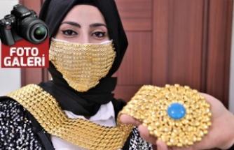 Gelinler için altın işlemeli maske üretildi