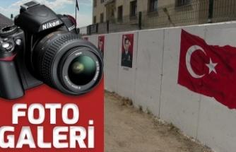 Şehit polislerin resimleri duvara çizildi