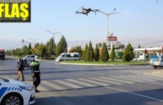 Drone ile havadan trafik denetimi yapılıyor